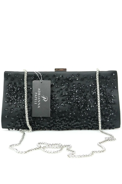 Adrianna Papell Norah Black-Beaded Clutch - Alternate List Image