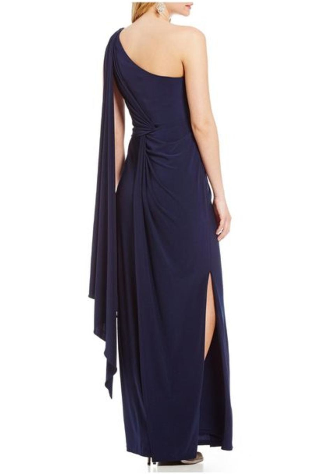 Adrianna Papell One-Shoulder Draped Gown - Front Full Image
