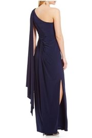 Adrianna Papell One-Shoulder Draped Gown - Front full body