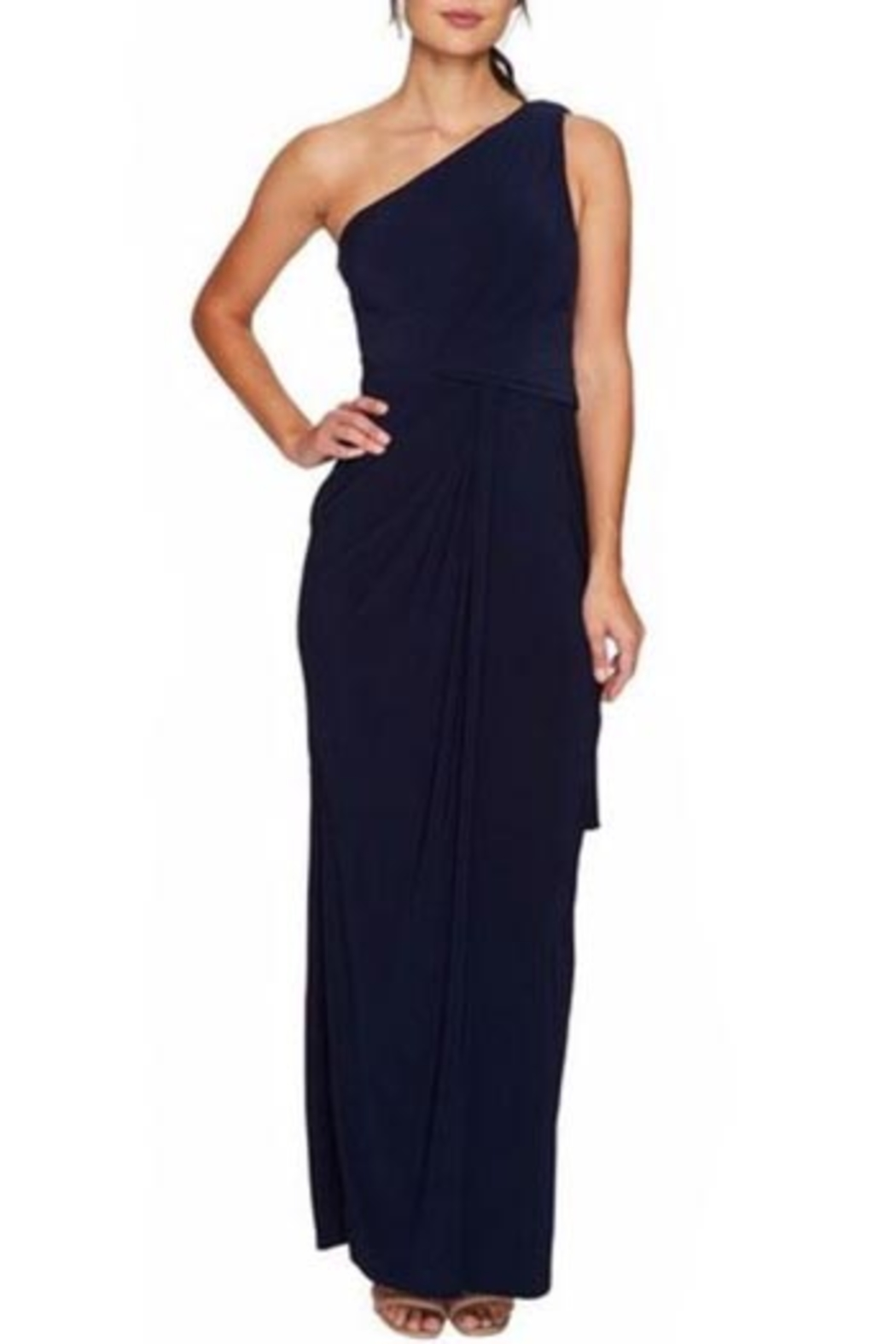 Adrianna Papell One-Shoulder Draped Gown from Ohio by e.j. hannah ...