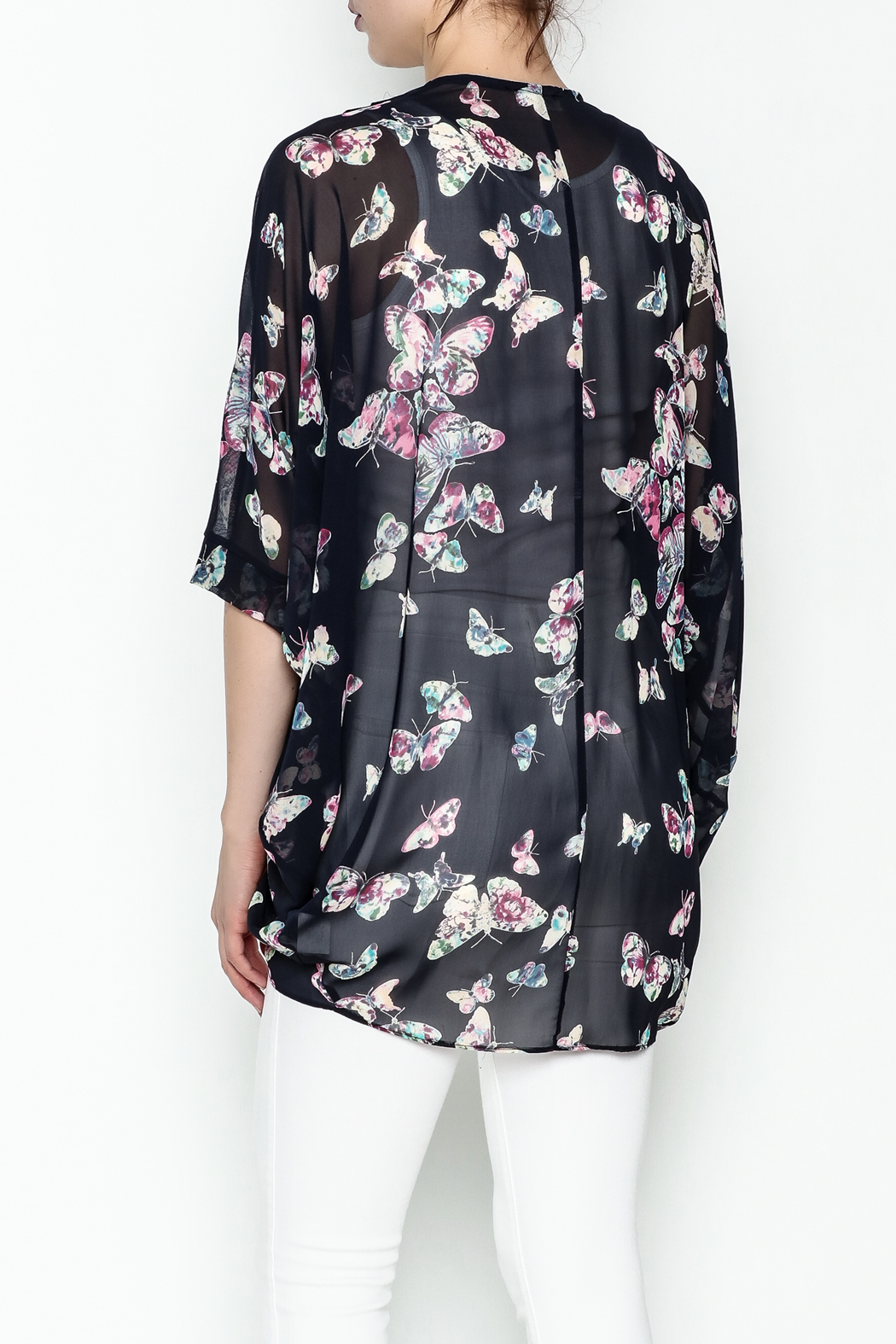 Adrienne Butterfly Print Cardigan - Back Cropped Image