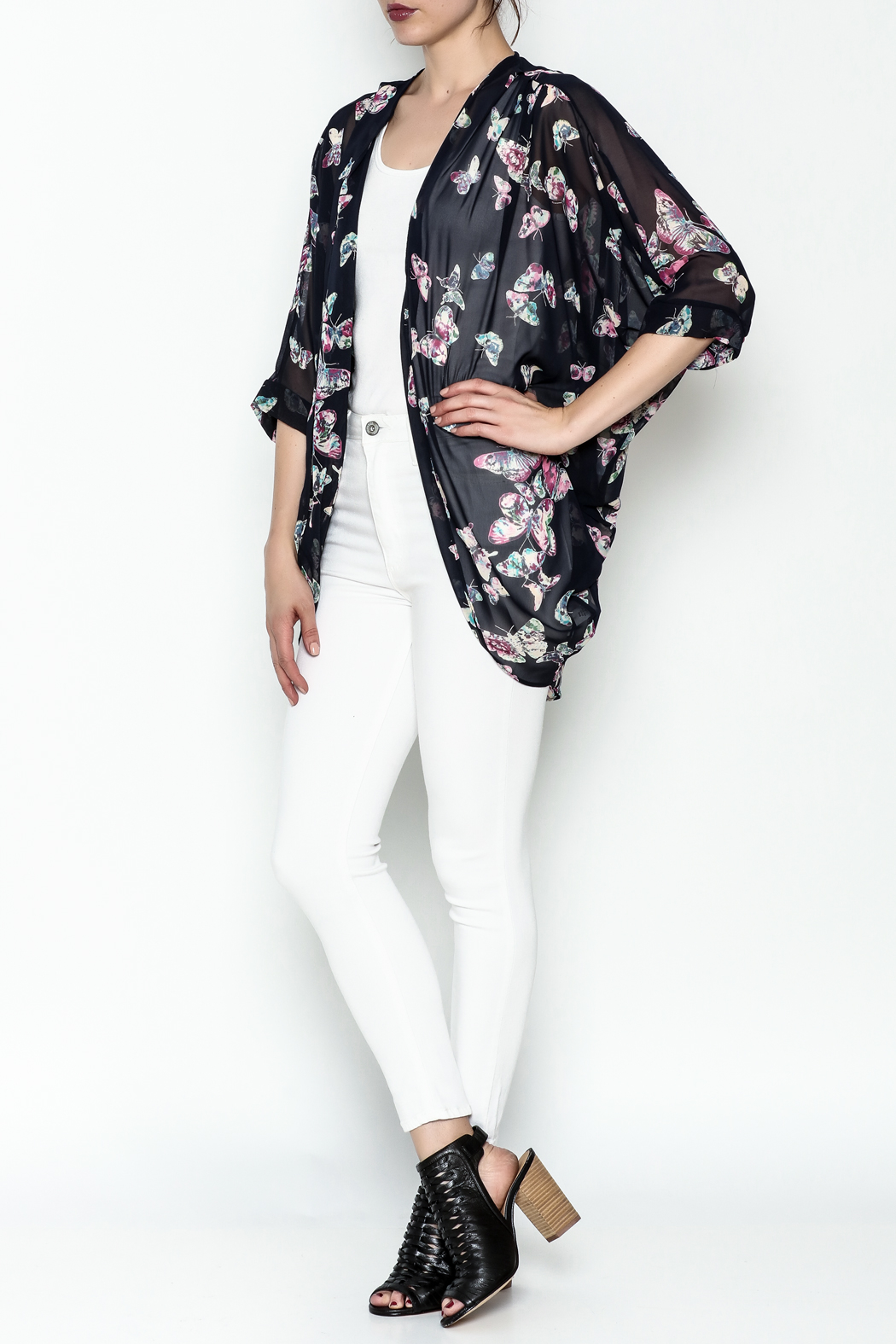 Adrienne Butterfly Print Cardigan - Side Cropped Image