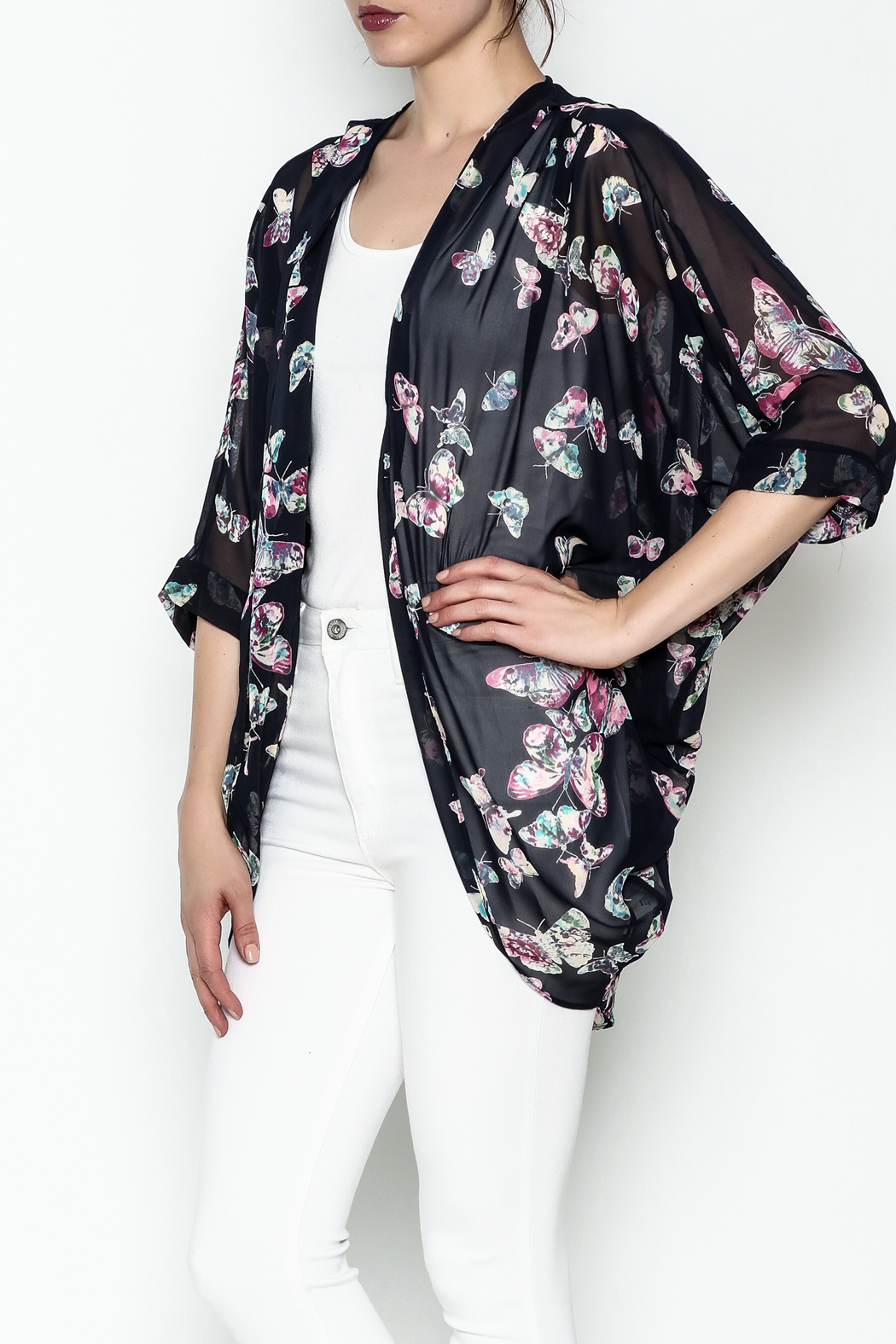 Adrienne Butterfly Print Cardigan - Main Image