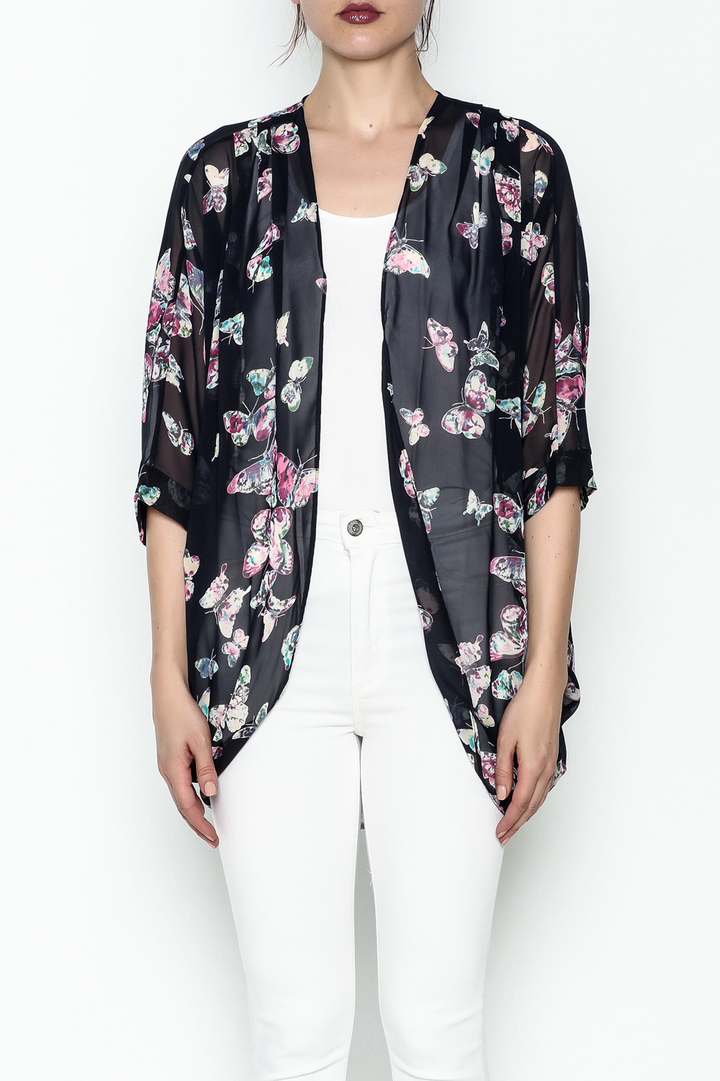 Adrienne Butterfly Print Cardigan - Front Full Image