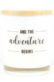 Unplug Soy Candles Adventure Begins Soy Candle - Front cropped