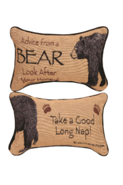 Manual Woodworkers and Weavers Bear Advice Pillow - Product Mini Image