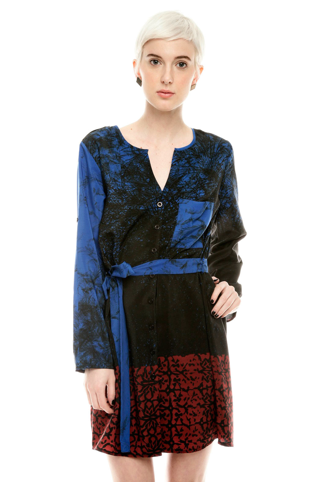 NU Button Belted Dress - Main Image