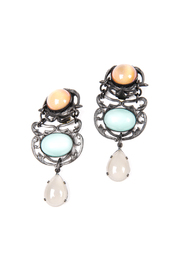 Shoptiques Product: Multi-Colored Jeweled Clip Earrings