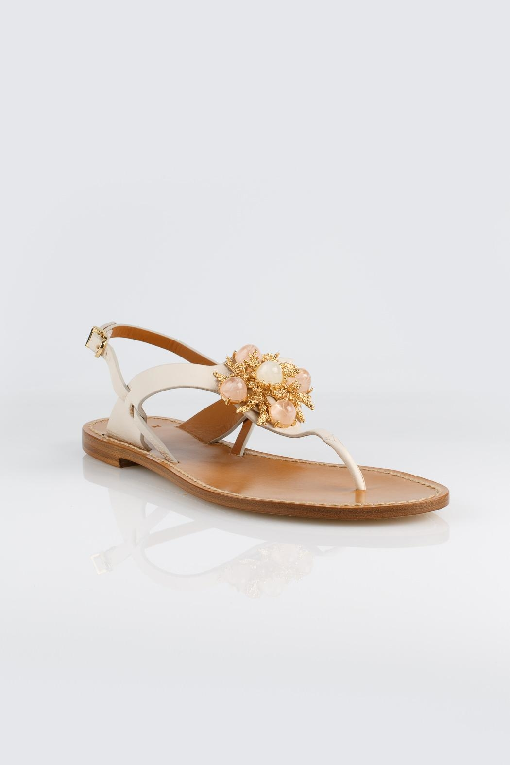 Aerin Cream Leather Sandals - Side Cropped Image