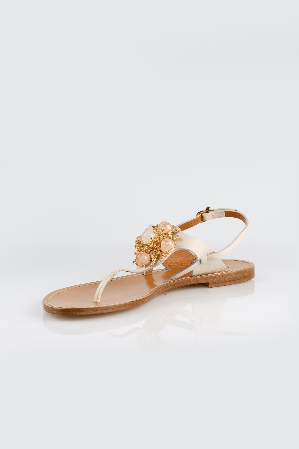 Aerin Cream Leather Sandals - Front Cropped Image