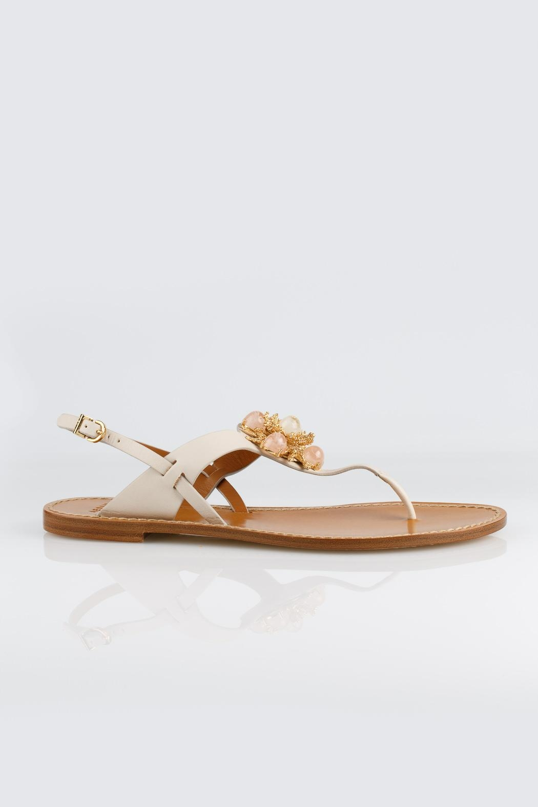 Aerin Cream Leather Sandals - Front Full Image