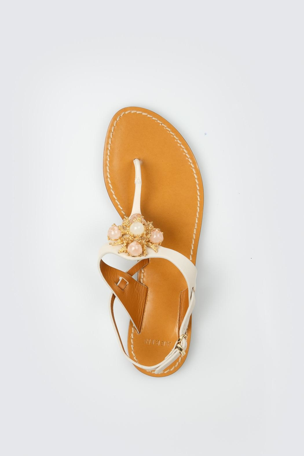 Aerin Cream Leather Sandals - Back Cropped Image