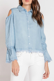 Velvet Heart Aerona Cold Shoulder Tie Sleeve Denim Top - Product Mini Image