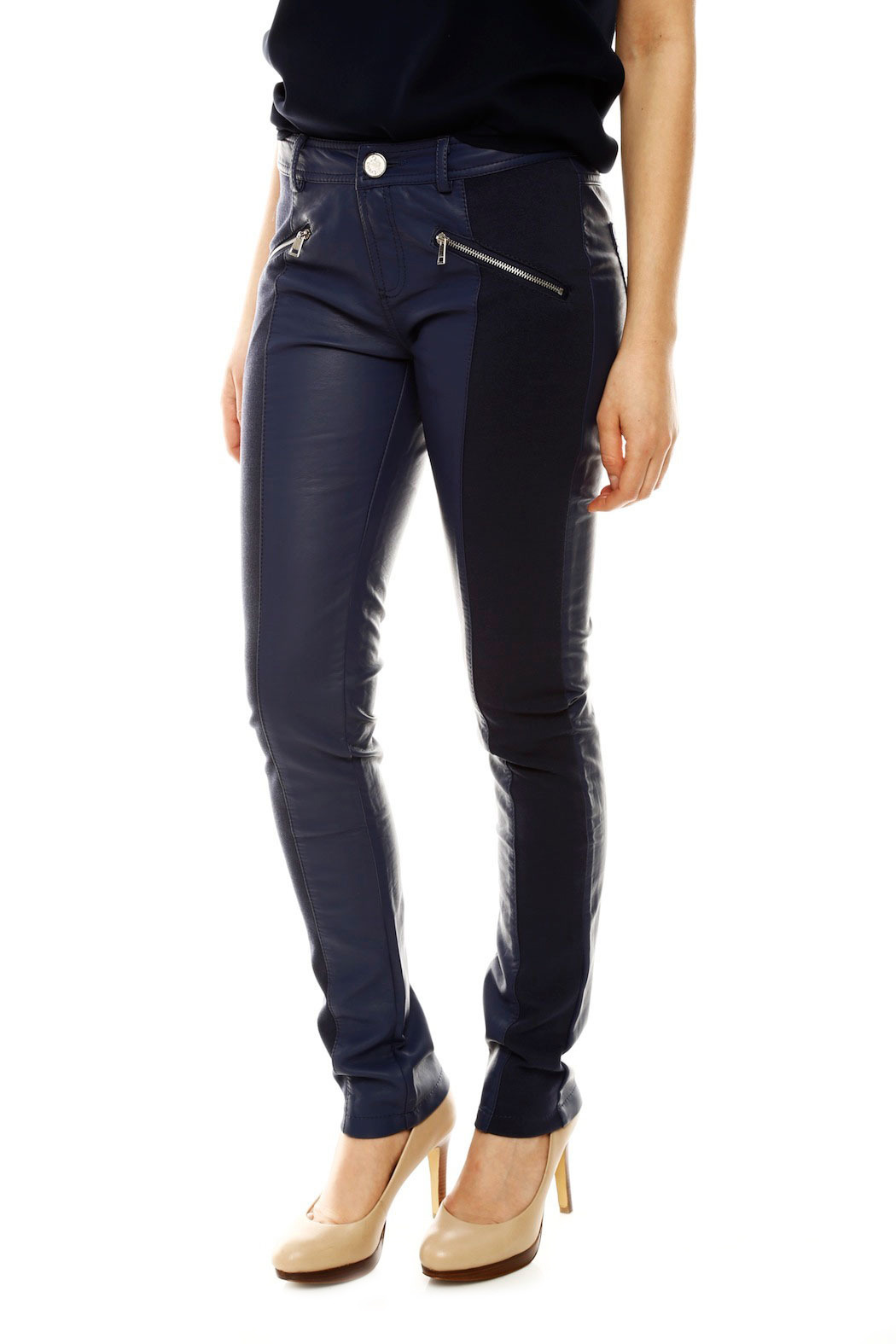 Laura Jo Navy Faux Leather Pants - Side Cropped Image