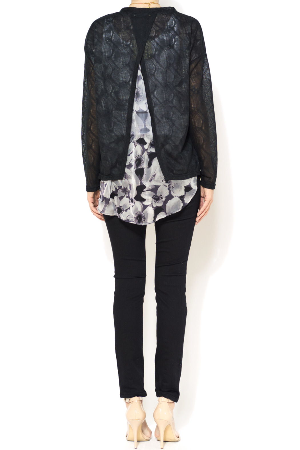 A'reve Sheer Garden Cardi - Side Cropped Image