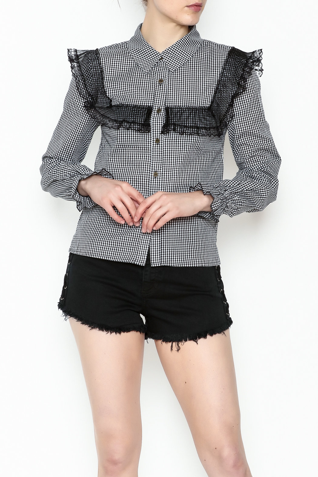 After Market Checkered Lace Top - Main Image