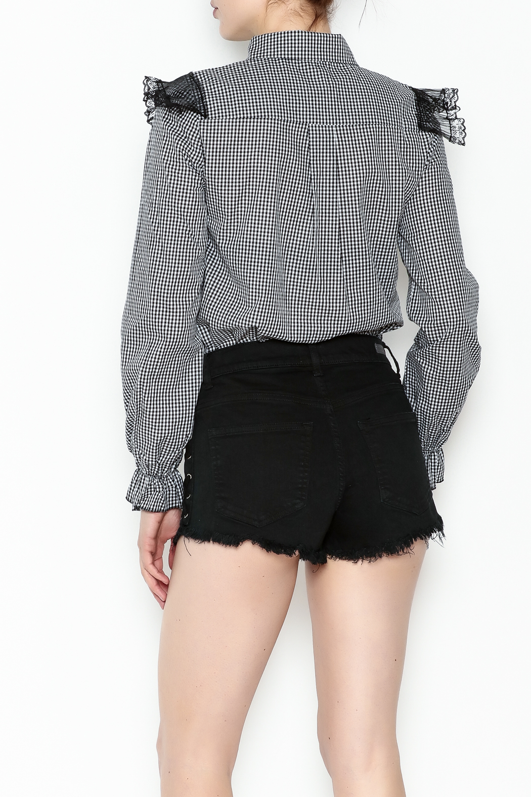 After Market Checkered Lace Top - Back Cropped Image