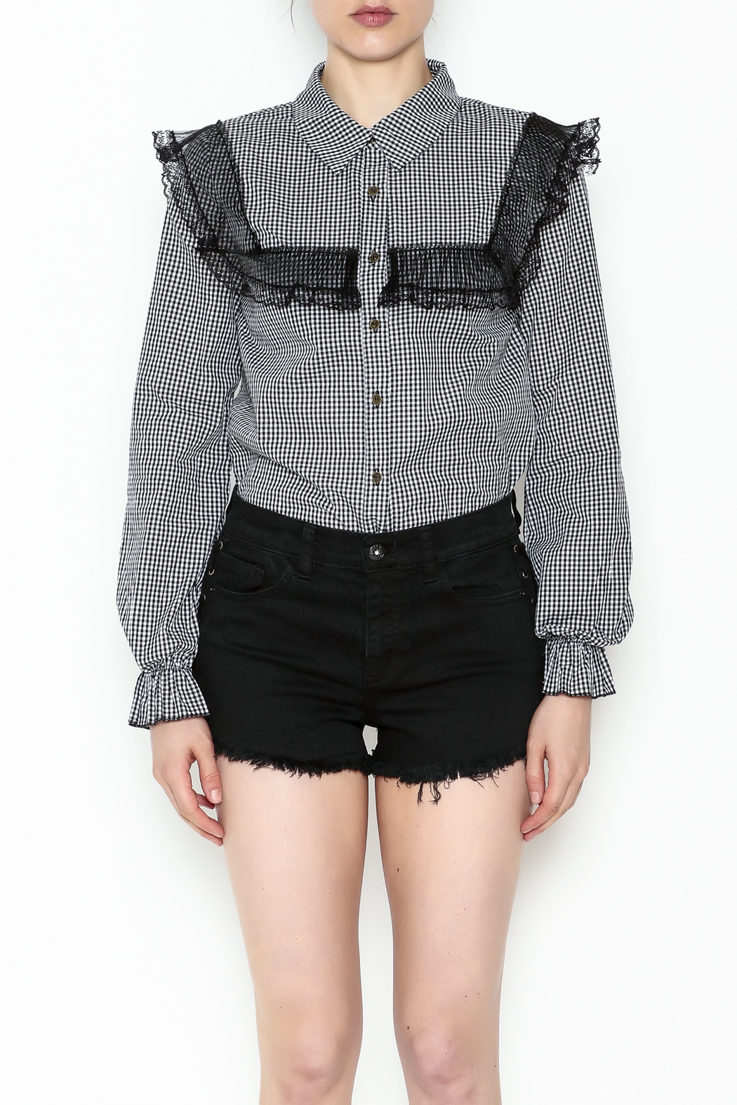 After Market Checkered Lace Top - Front Full Image