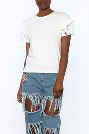 After Market Crochet Sleeve Tee - Front cropped
