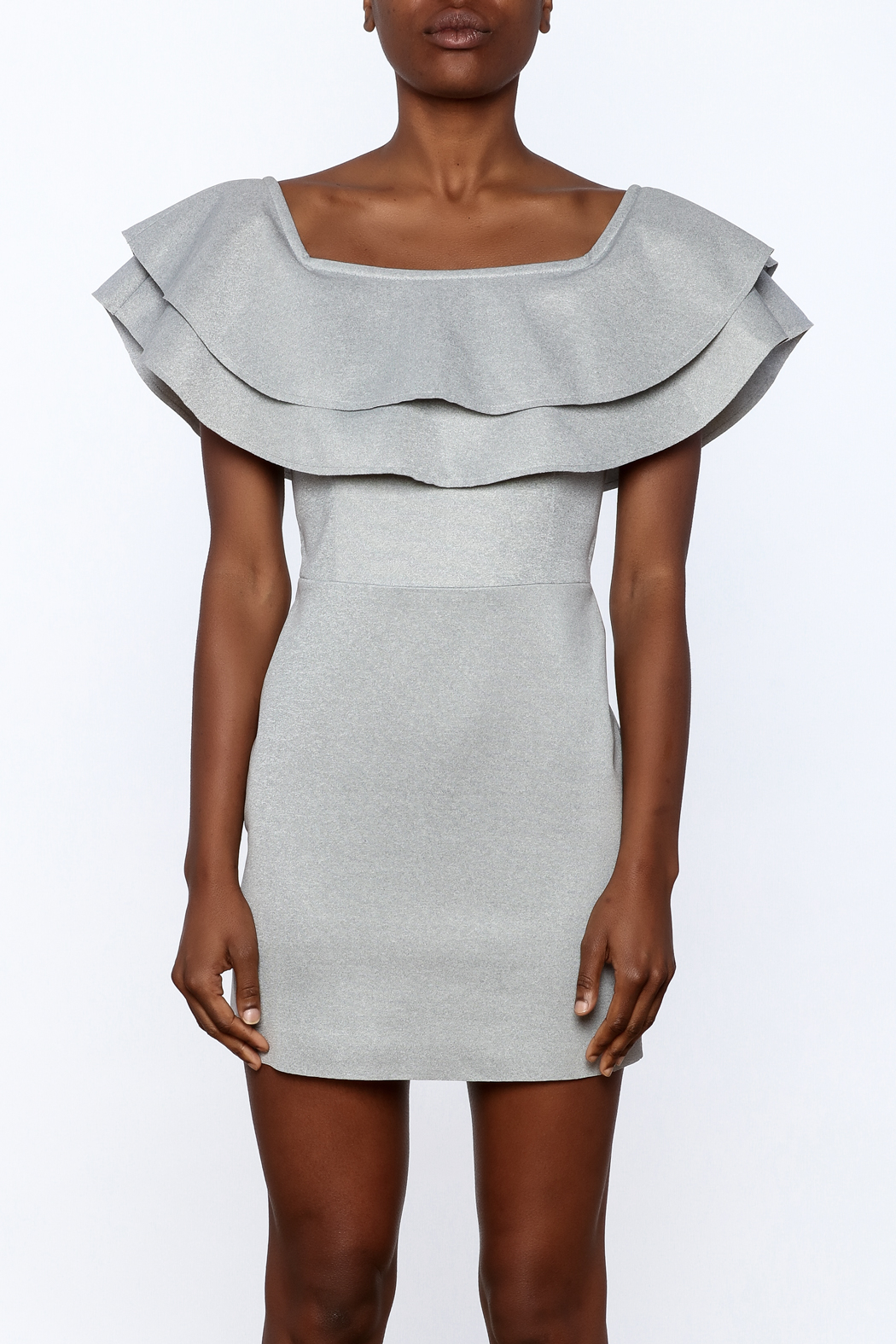 After Market Off Shoulder Ruffle Dress - Side Cropped Image