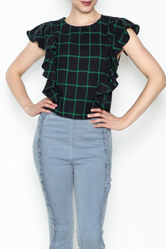 Shoptiques Product: Checkered Ruffle Sleeve Top