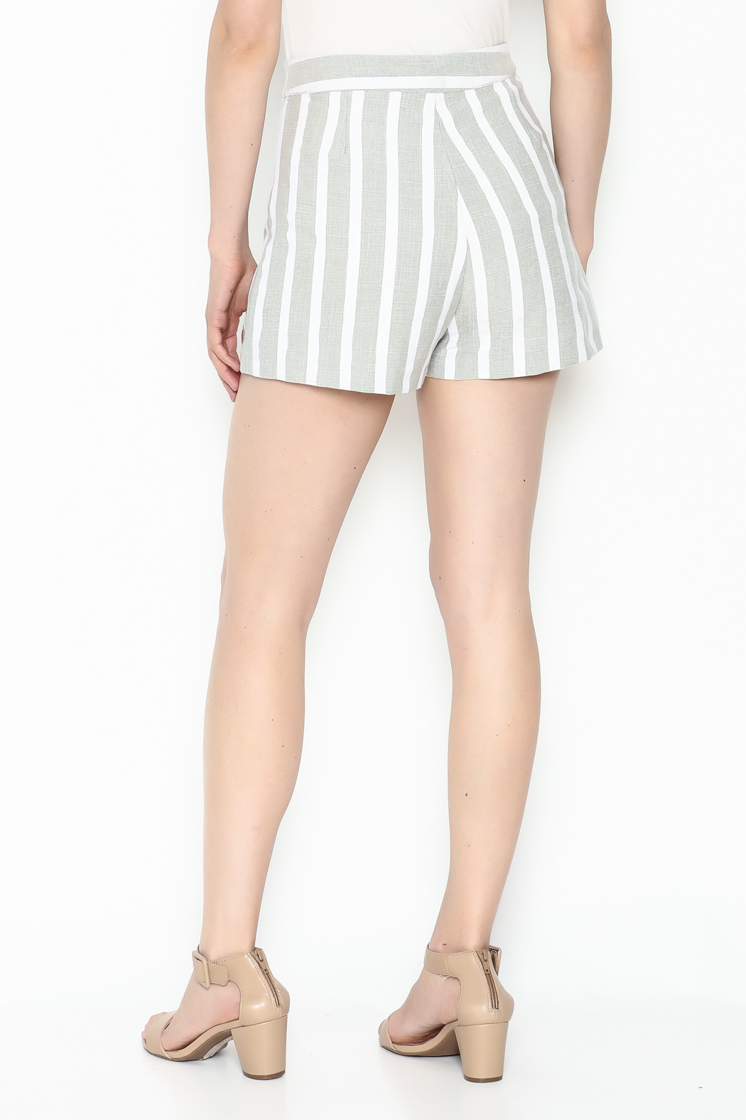 After Market Striped Grey Shorts - Back Cropped Image