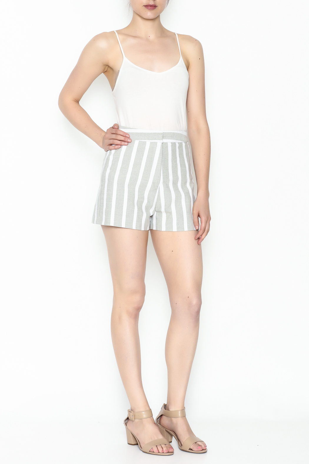 After Market Striped Grey Shorts - Side Cropped Image