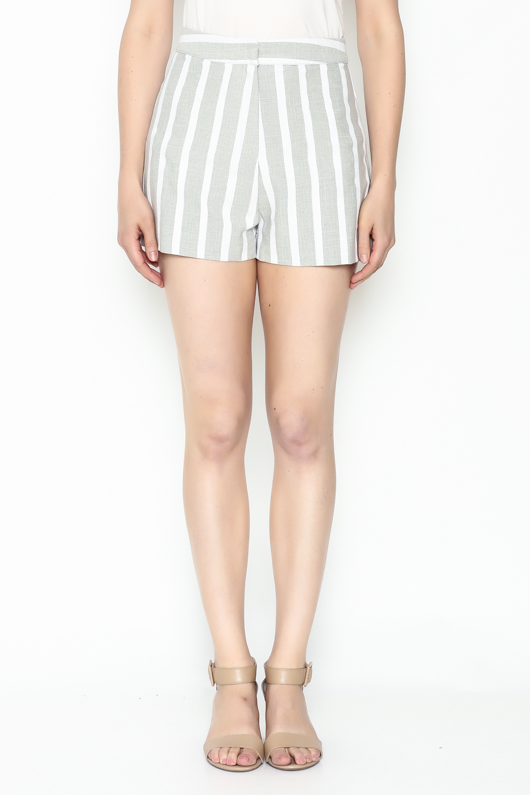 After Market Striped Grey Shorts - Front Full Image