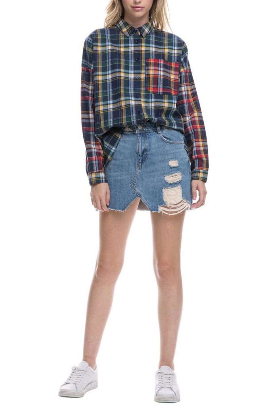 After Market Mixed Plaid Shirt - Front Cropped Image