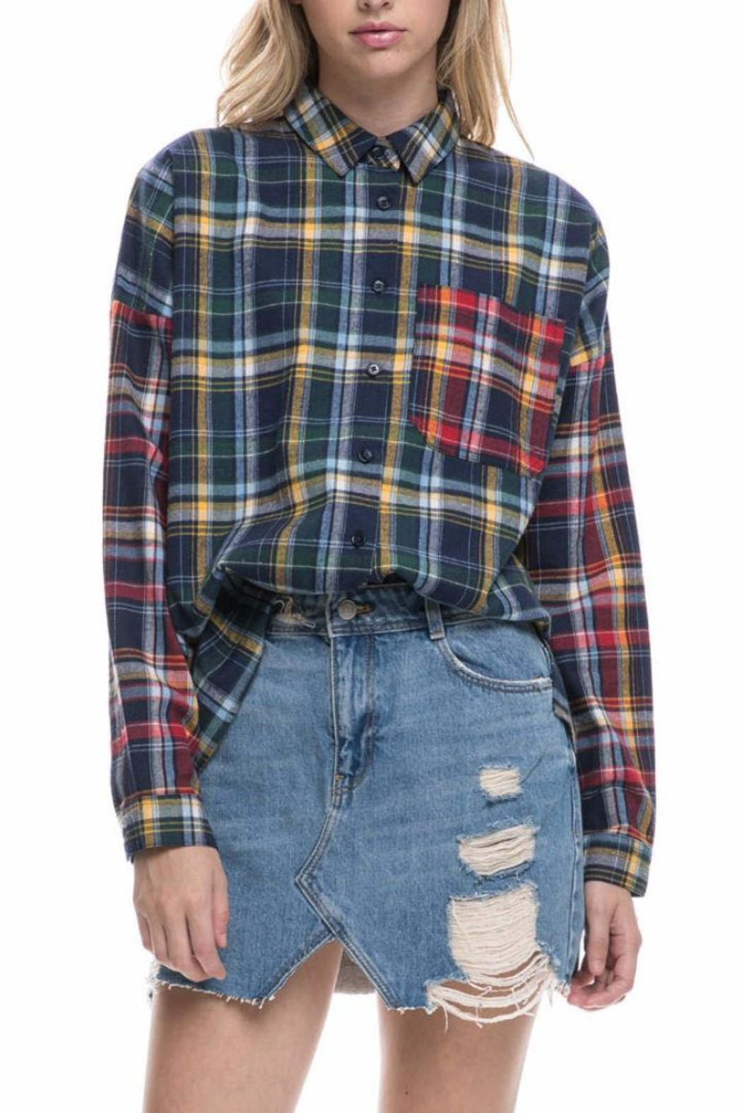 After Market Mixed Plaid Shirt - Back Cropped Image