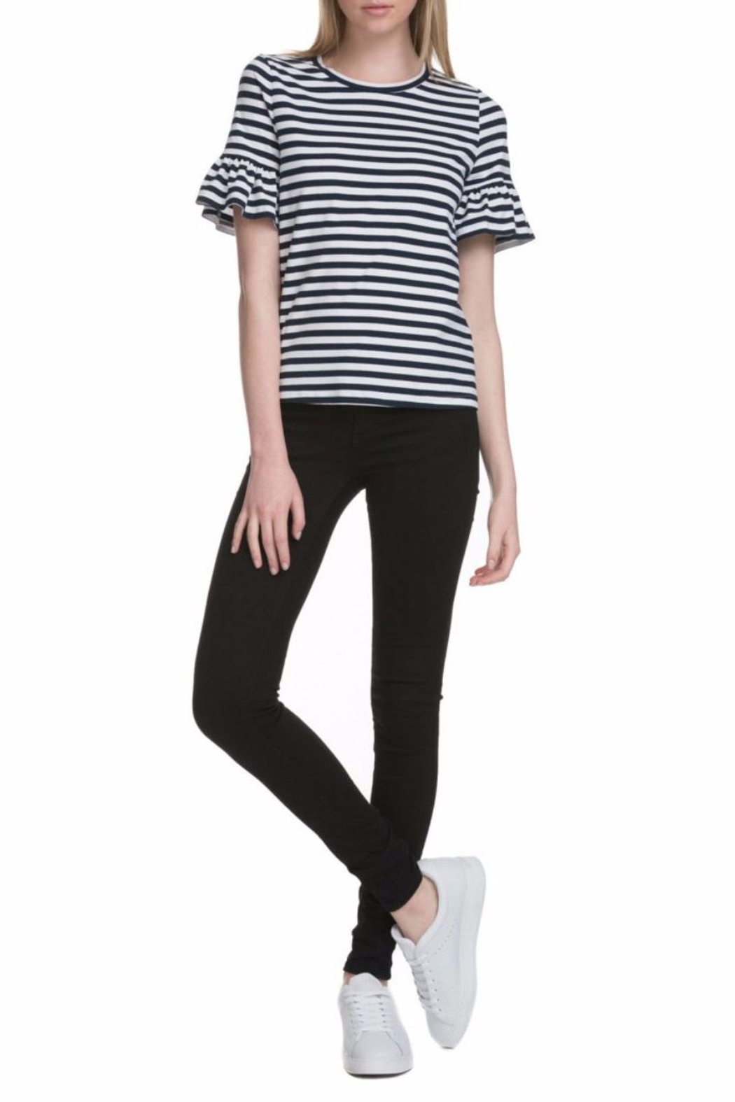 After Market Ruffle Striped Sleeve Tee - Front Full Image