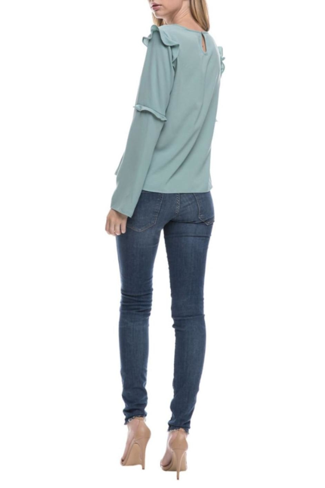 After Market Seafoam Ruffle Top - Side Cropped Image