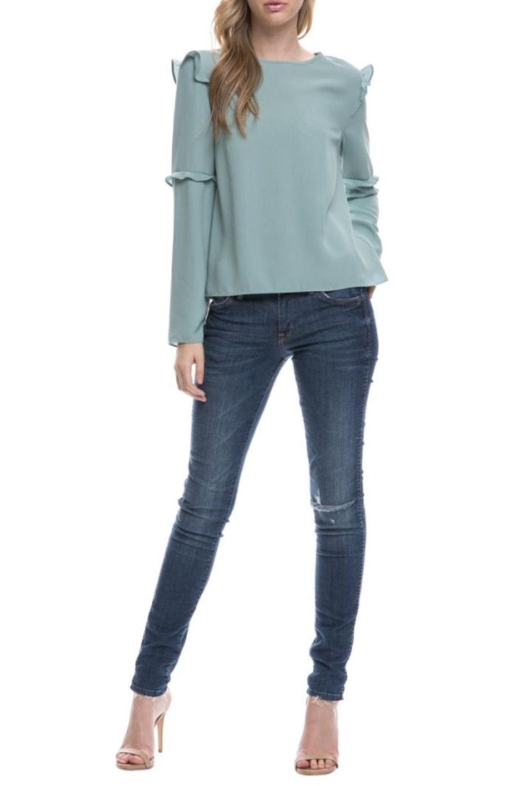 After Market Seafoam Ruffle Top - Front Full Image