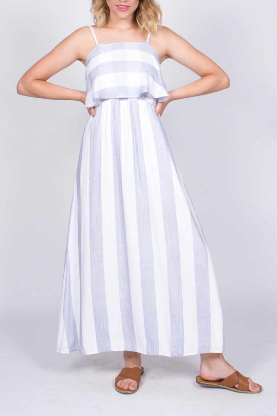 After Market Striped Maxi Dress - Front Full Image
