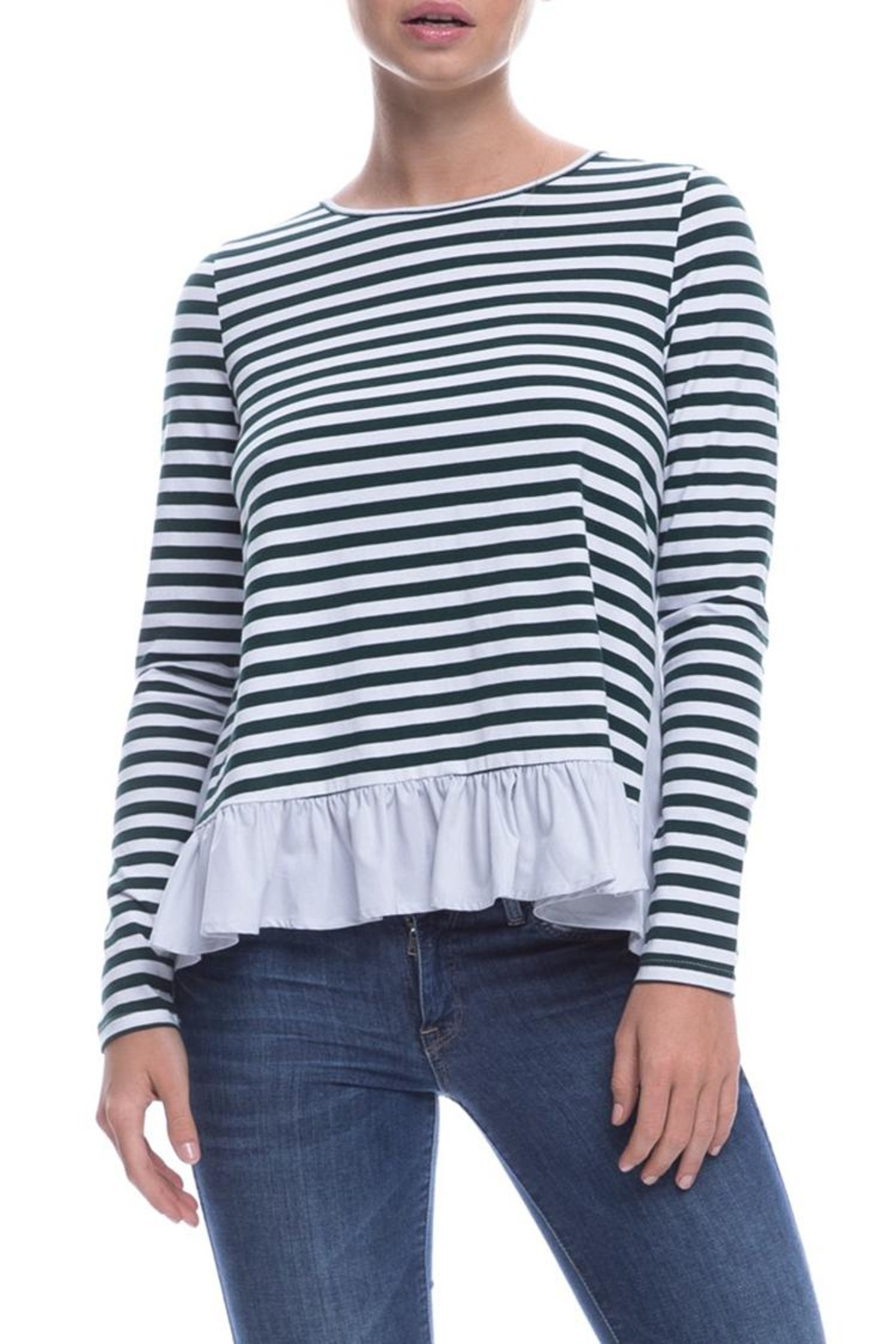 After Market Striped Ruffle Top - Main Image