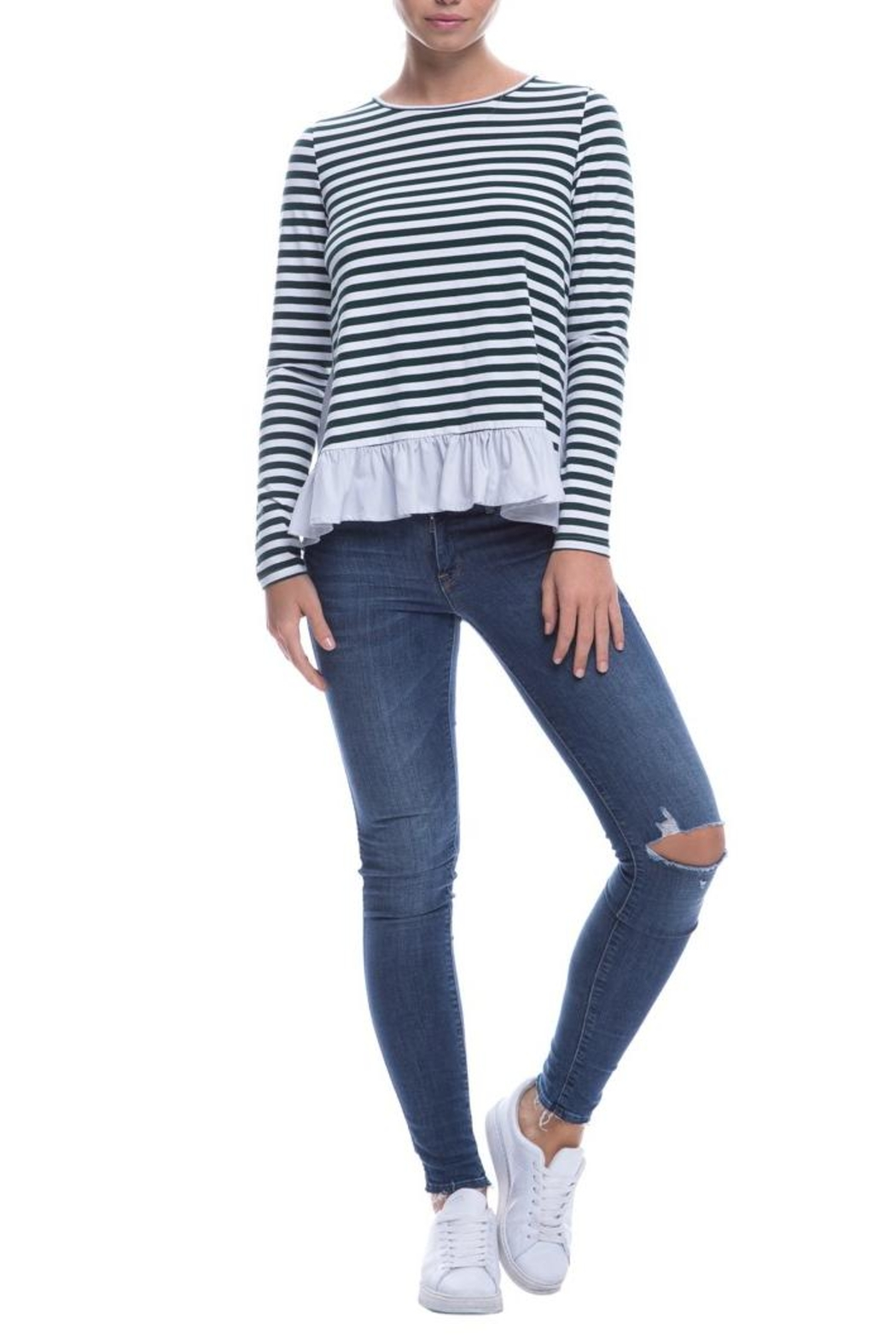 After Market Striped Ruffle Top - Front Full Image