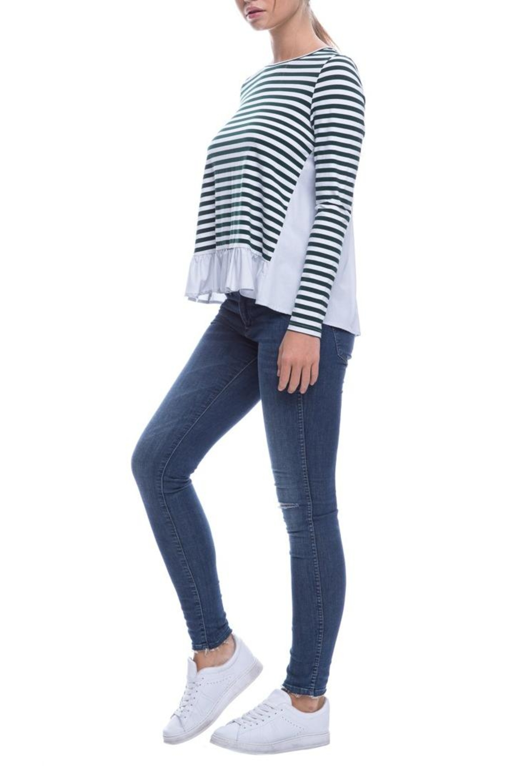 After Market Striped Ruffle Top - Back Cropped Image