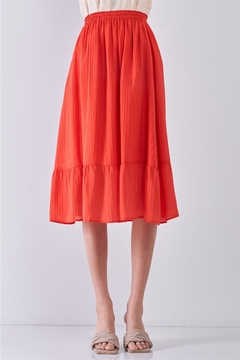 Comune Afterglow Red High-Waisted Slightly Pleated Midi Skirt - Product List Image
