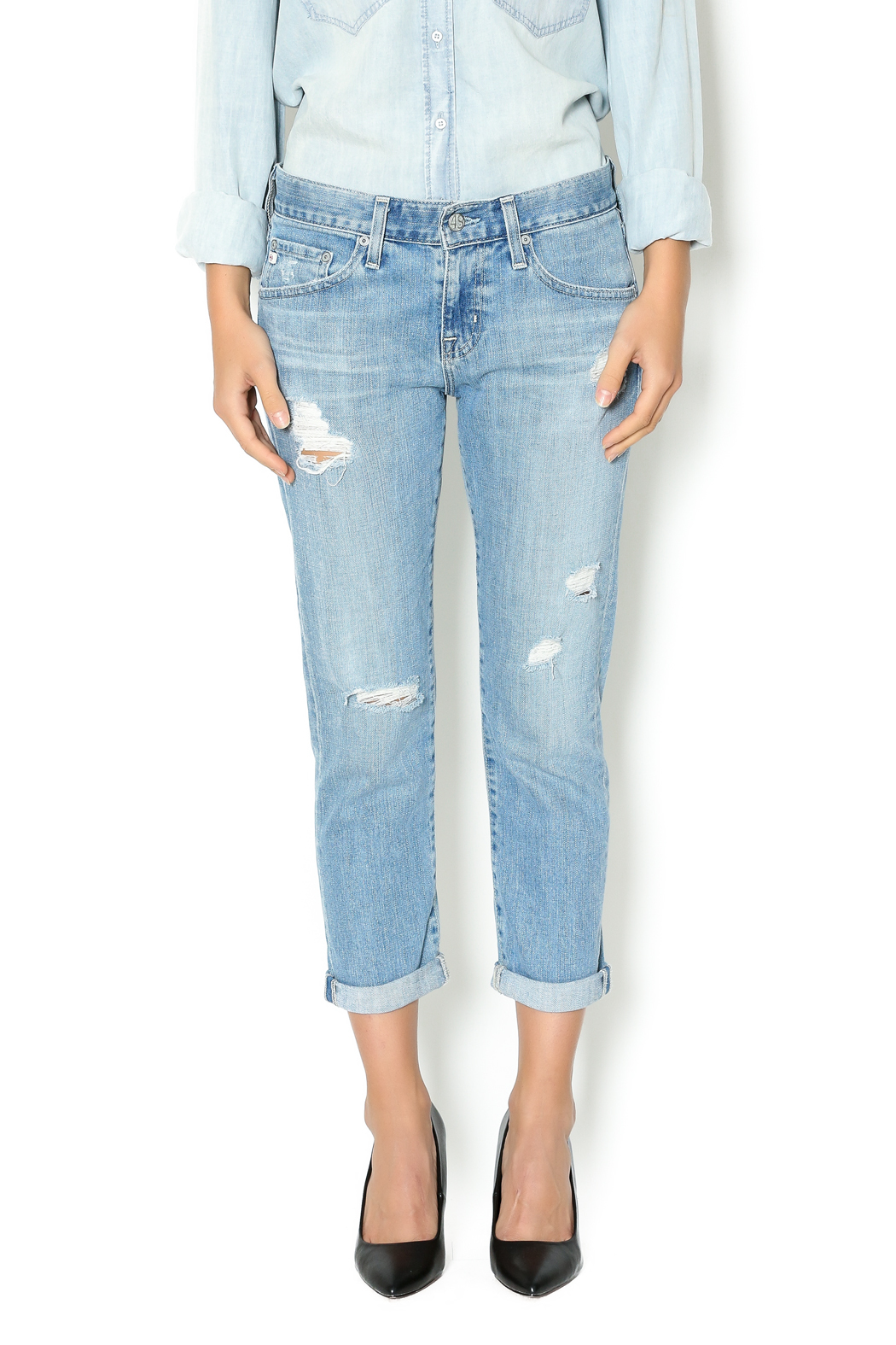 AG Ex Boyfriend Slim Jeans - Front Cropped Image