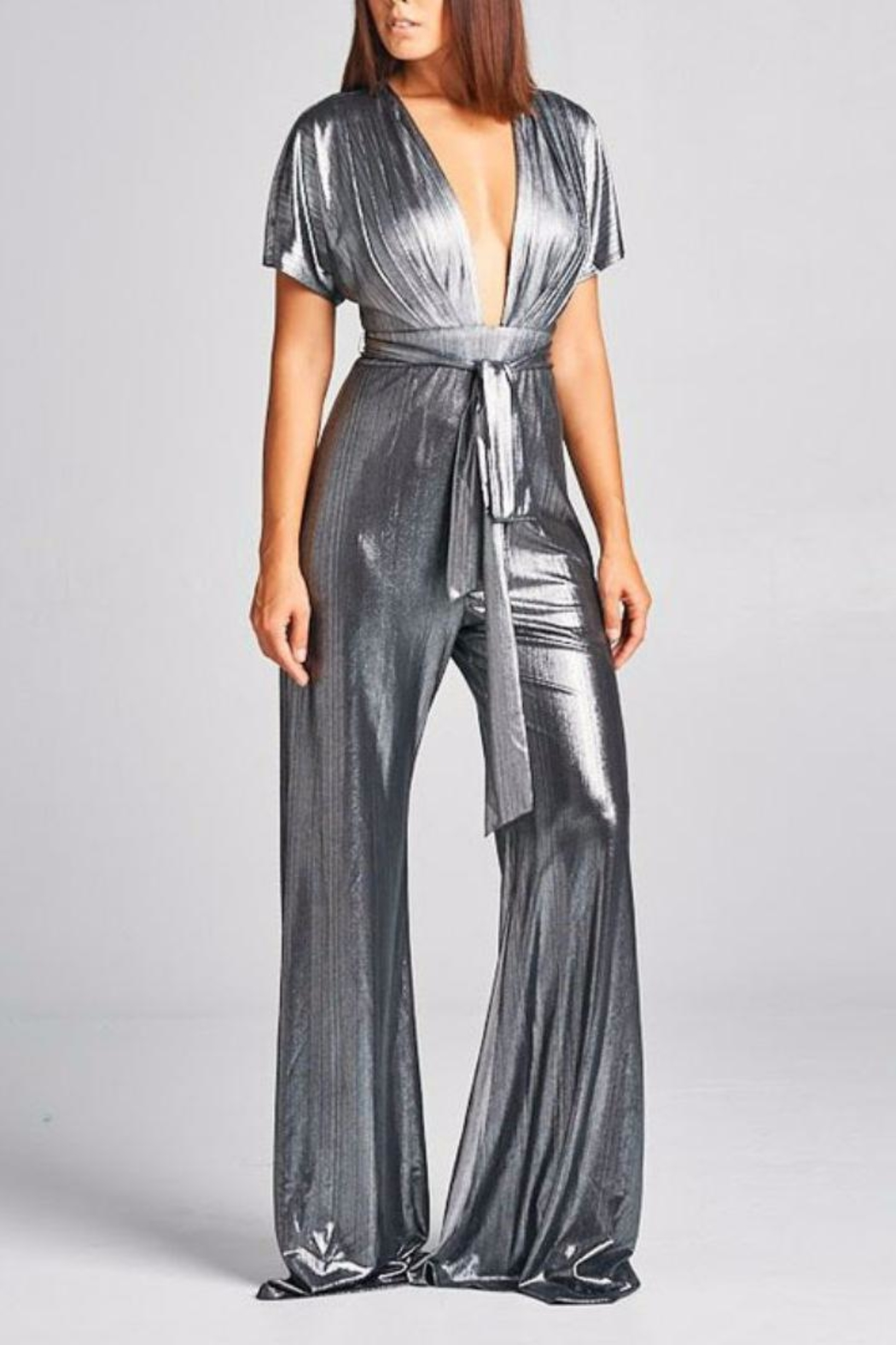 AG Studio Silver Jumpsuit - Front Cropped Image