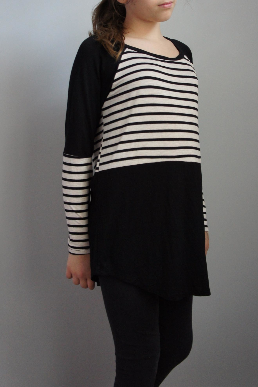 Again Collection Striped-Block Black Top - Main Image