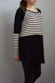 Again Collection Striped-Block Black Top - Front cropped
