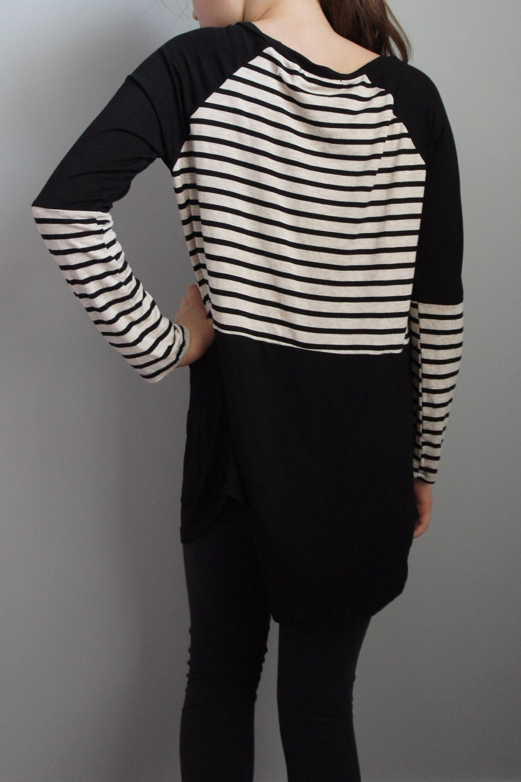 Again Collection Striped-Block Black Top - Front Full Image