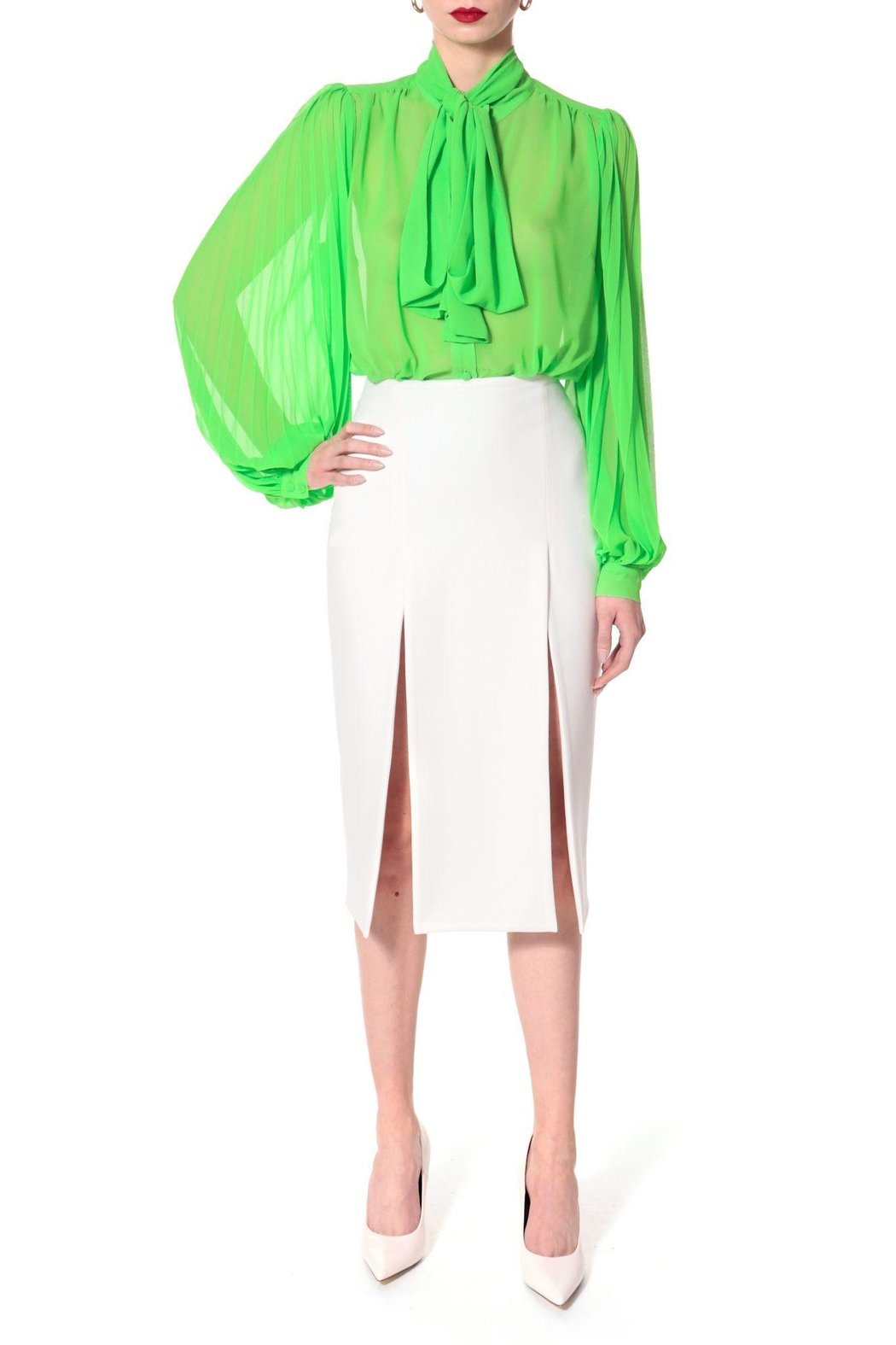 AGGI Blouse Linda Green Flash - Back Cropped Image