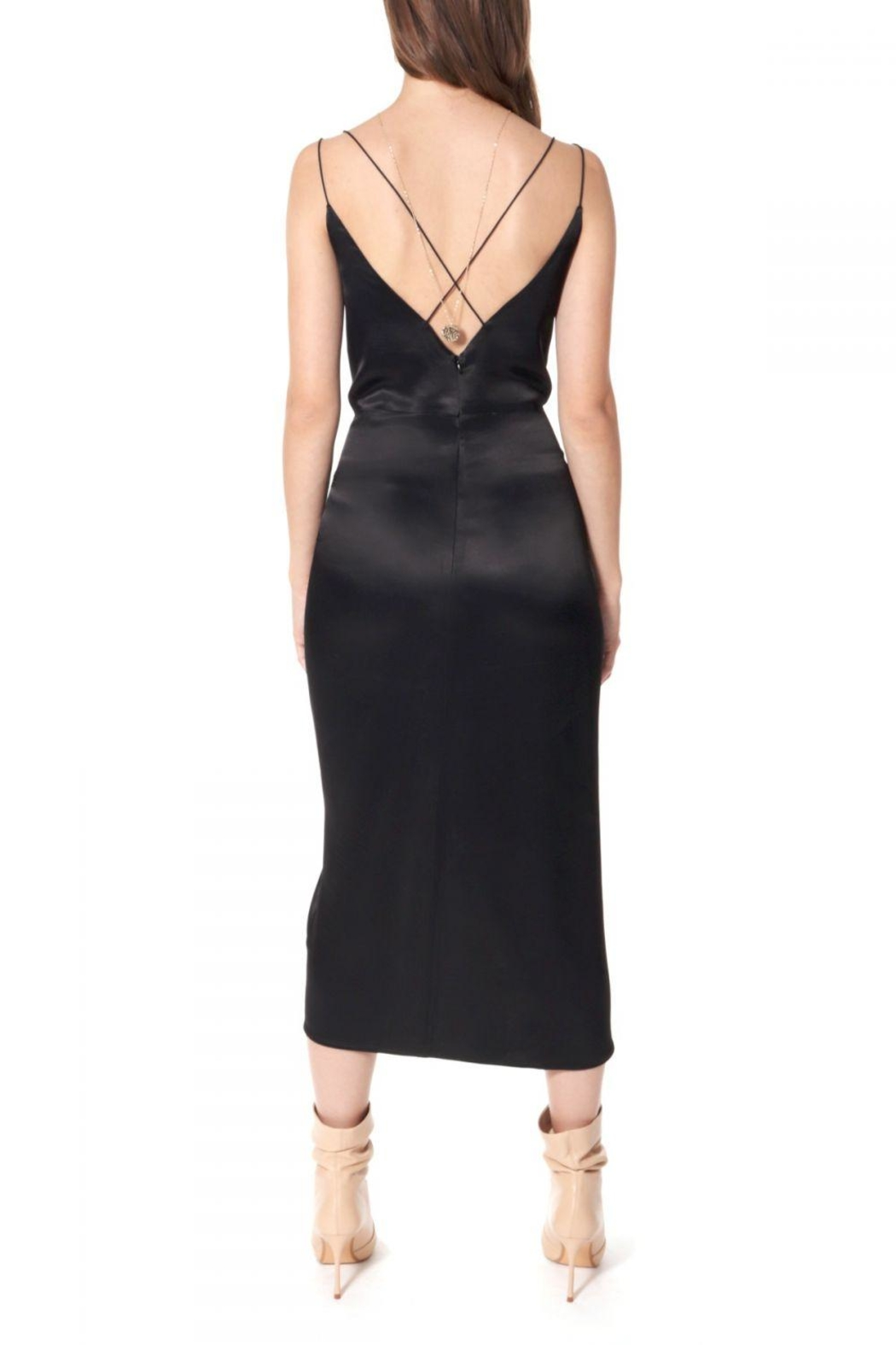 AGGI Dress Ava Glossy Black - Back Cropped Image