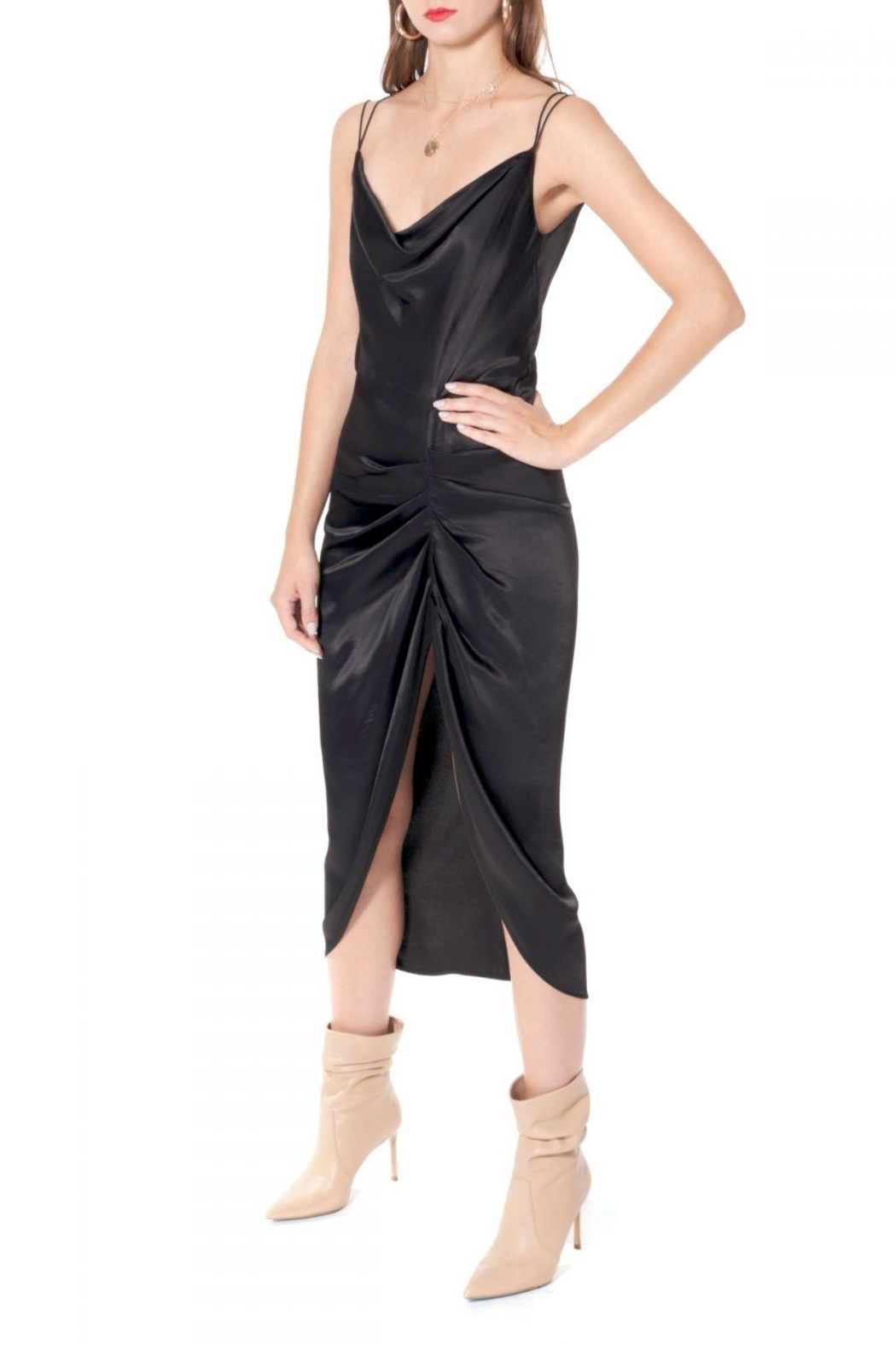 AGGI Dress Ava Glossy Black - Side Cropped Image