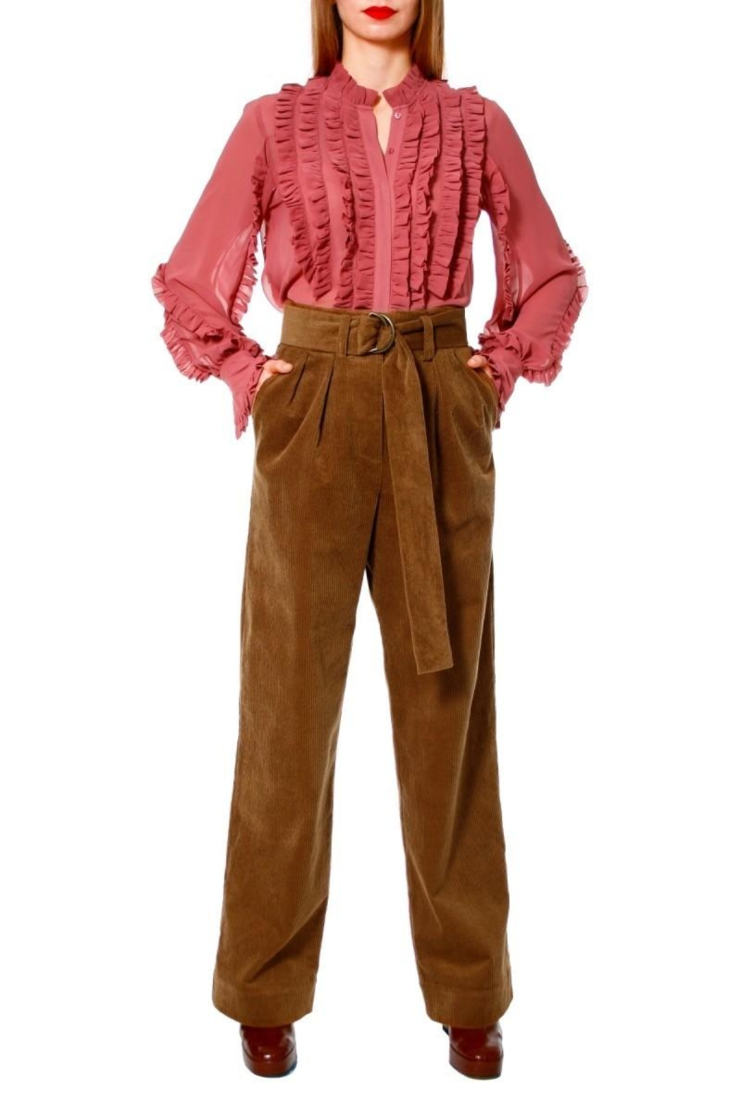 AGGI Pants Janice Toffee - Front Cropped Image