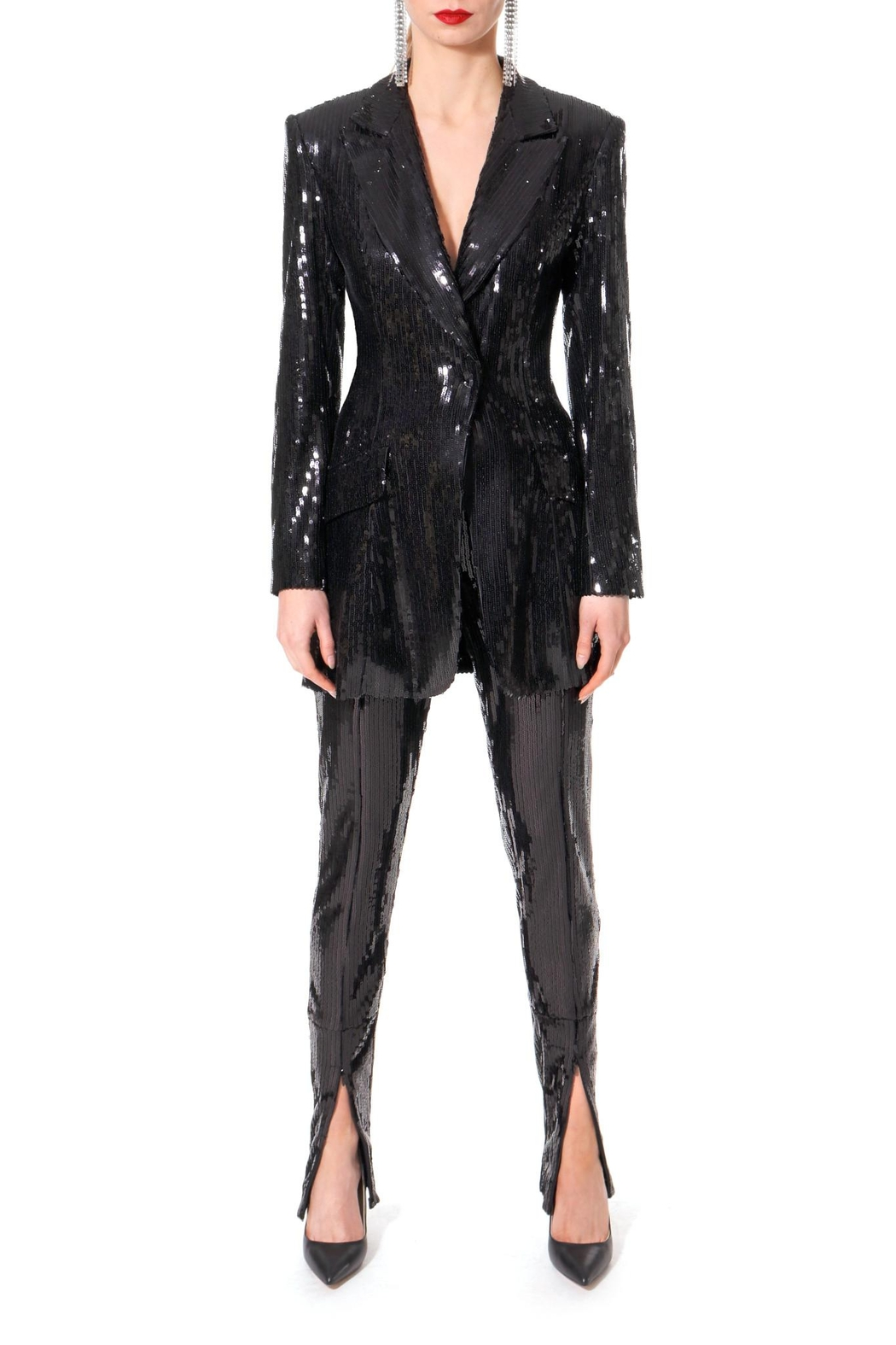 AGGI Sequin Pants Stella Black Onyx - Front Cropped Image