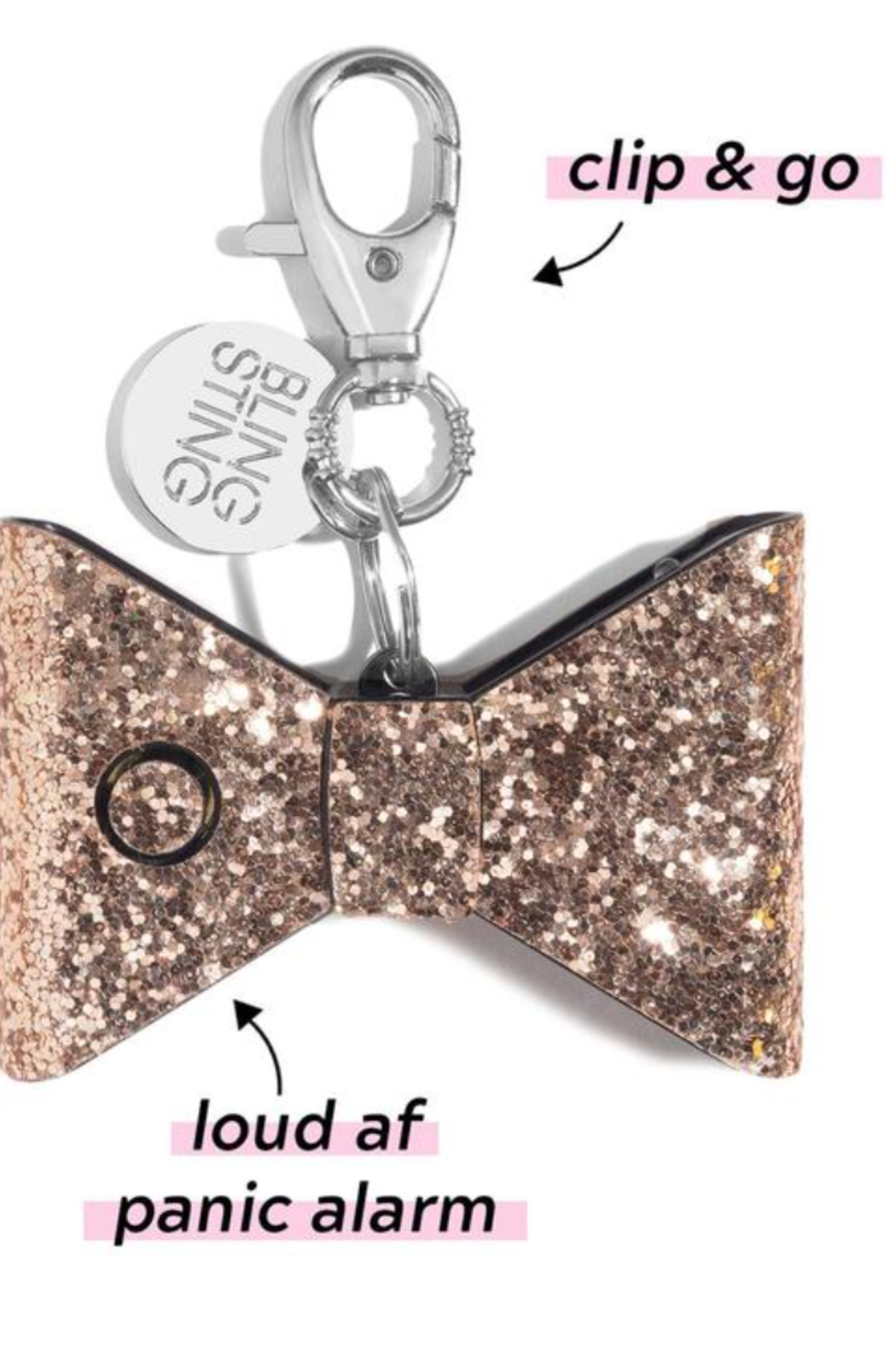 Super-Sparkly Safety Stuff Ahh!-larm Personal Safety Keychain - Side Cropped Image