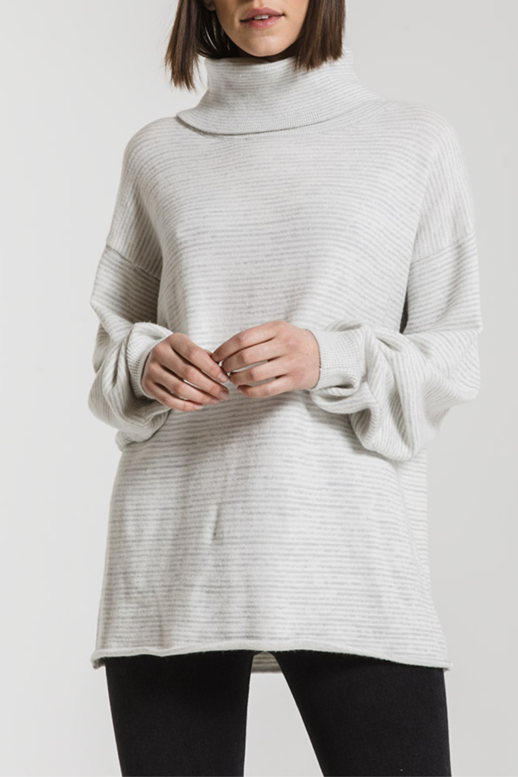 rag poets Aja Soft Knit Cowl Neck Sweater - Front Full Image